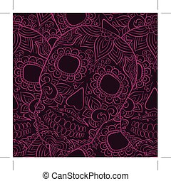 Day Of The Dead Skull Vector seamless pattern