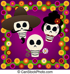 Day of the Dead Skulls - Three festive skulls celebrate Dia...