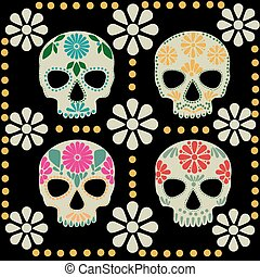 Day of the dead skulls set, traditional marigolds and ...