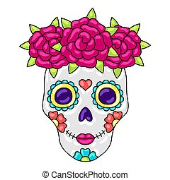 Day of the Dead sugar skull with floral ornament.