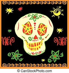 Day of The Dead Sugar Skull with floral ornament