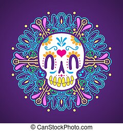 day of the dead sugar skull with mandala