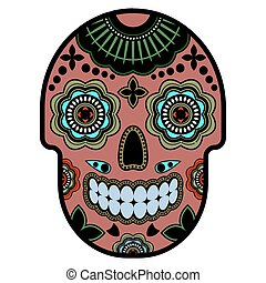 Day of the dead sugar skull with ornament. Bright ornament. Thick outline.