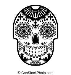 Day of the dead sugar skull with ornament. Thick outline.