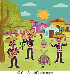 Day Of the Dead, traditional Mexican Halloween Dia De Muertos holiday party vector illustration, design element for poster or banner