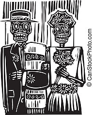 woodcut style Mexican day of the dead wedding image with groom and bride.
