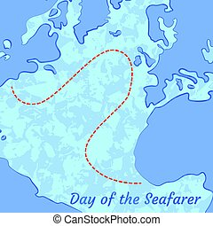Day of the Seafarer. 25 June. Outlines of the continents and the sea, ships. Imitation contour maritime maps with marked route