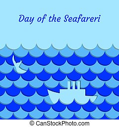 Day of the Seafarer. 25 June. Stylized cartoon sea, waves,...