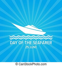 Day of the seafarer 25 june. Vector slhouette of yach or...