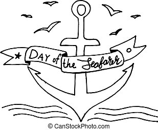 day of the seafarer, text design. Vector calligraphy. - day...