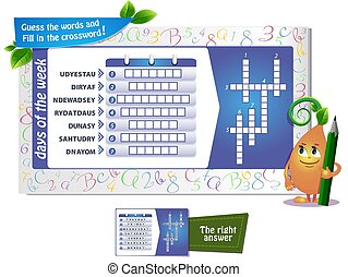 day of the week crossword - educational game for kids and ...
