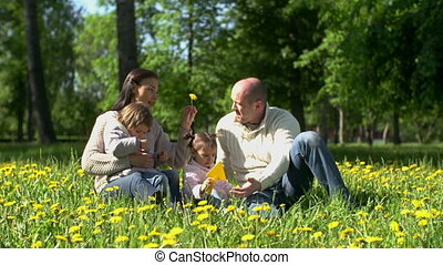 Day Outdoors - Family of four having fun in park, child...