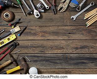 day., père, concept, vieux, outils