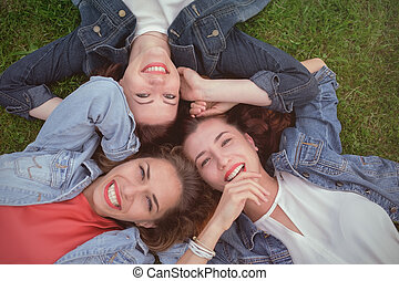 day., parc, amis, ensoleillé, heureux