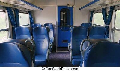 day., passager, intérieur, entraîner chariot