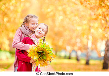 day., peu, gosses, automne, automne, chaud, dehors, girl, heureux