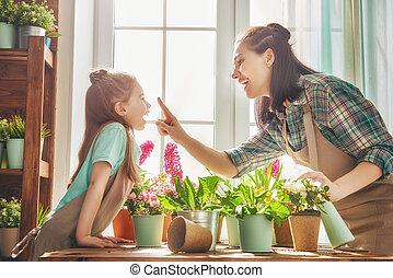 day., printemps, famille, heureux
