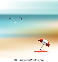 day., sandstrand, sonnenlicht