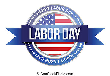 day., sello, bandera, nosotros, trabajo