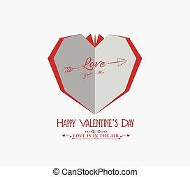 day., serce, papier, valentine, twórczy