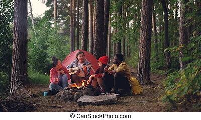 day., sien, manger, autour de, guimauve, gens, doux, concept., cuisine, guitare, amis, camp, automne, jouer, quoique, feu camp, séance, homme, habillement, désinvolte, touriste