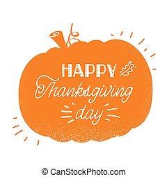 day., silhouette, thankgiving, heureux, texte, traditionnel, américain, vacances, citrouille