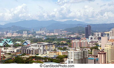 day skyline time-lapse of Kuala Lumpur city. pan up