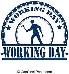 day-stamp, trabalhando