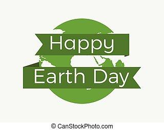 day., tekst, ilustracja, planeta, tło., wektor, ziemia, biała wstążka, szczęśliwy