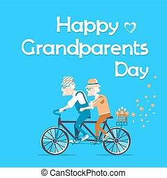 day., tekst, szczęśliwy, karta, dziadkowie, święto, wektor