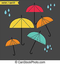 day., temps pluvieux, parapluie, vector.
