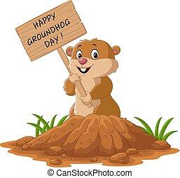 day., tenue, signe, heureux, rigolote, bois, marmotte amérique