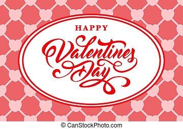 day., texto, valentines, feliz, calligraphic