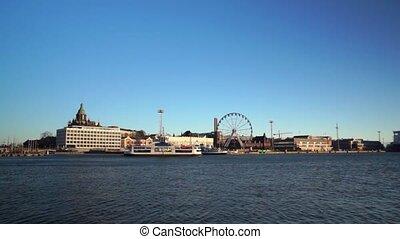 Day time Helsinki harbor landscape