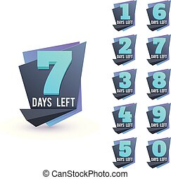 Day to go numbers. Days left countdown business sign vector set