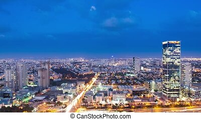 Day to Night Time Lapse - Tel Aviv Skyline From Day to Night...