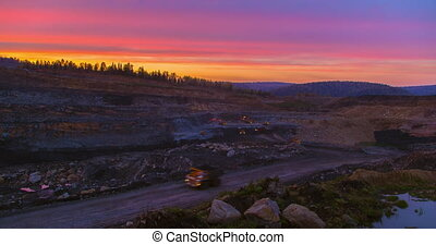 Day to night timelapse coal mining in the quarry