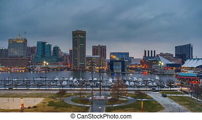 Day to night timelapse of Baltimore skyline and Inner Harbor...