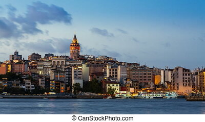 Day to night timelapse of Istanbul cityscape with Galata...