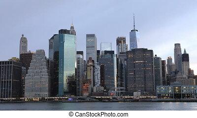 Day to night timelapse of lower Manhattan skyline