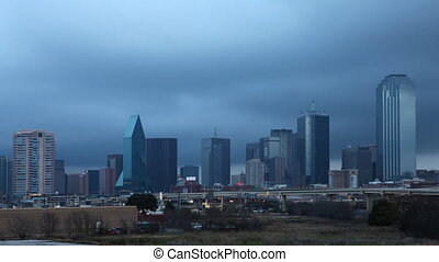 Day to night timelapse of the Dallas skyline