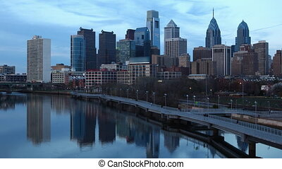 Day to night timelapse Philadelphia