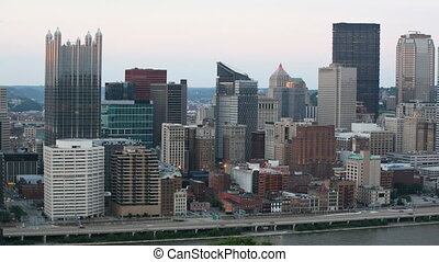Day to night timelapse Pittsburgh city center
