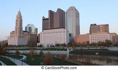 Day to night timelapse scene of Columbus, Ohio skyline - A...