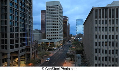 Day to night timelapse view of Phoenix downtown
