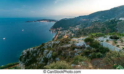 Day to night timelapse view of the Mediterranean coastline...