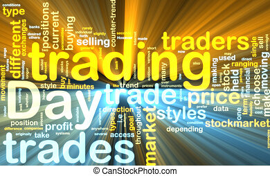 Day trading wordcloud glowing - Word cloud tags concept...
