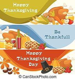 day., traditionelle , vegetables., gruß, fã¼llhorn, früchte, erntedank, lebensmittel, dekoration, vektor, kürbise, überfluss, gebraten, karten, tisch, türkei, banner, glücklich