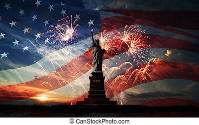 day., värld, frihet, upplys, oberoende