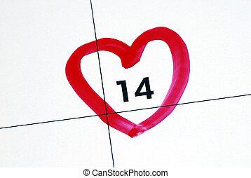 day), (valentine's, megjelöl, naptár, 14 february